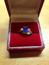 NEW Oval Sapphire & Diamond 3 Stone Ring in size J