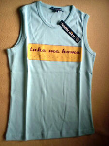 T- Shirt / Achselshirt - TAKE ME HOME - Gr. S in Türkis von indicaate / NEU
