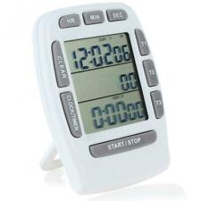 Digital LCD 3-Line Triple Alarm Countdown Stopwatch Timer Kitchen Cooking Clock