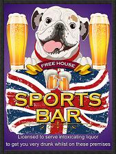 British Bulldog SPORTS BAR, Retro Metallo Segno/Targa Pub Bar Man Grotta sala giochi