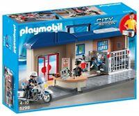 Playmobil 5299 Maletín Jefatura de Policía Estacion police con 3 Figuras y Moto