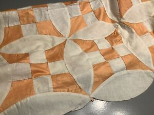 Vintage 1955 Quilt Top to be Finished Hand Sewn Orange and White