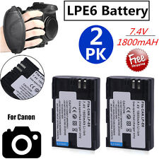 7.4V 1800mAH LP-E6  Li-Ion Battery 2 Pack For Canon EOS 60D 7D Camera Free Ship