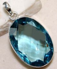 Vintage 925 Silver Filled Oval Cut Aquamarine Gemstone Necklace Pendant Jewelry