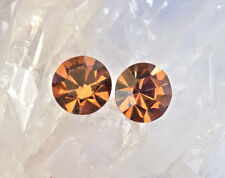 Crystal Smokey Topaz Stud Earrings 11mm Round Dentelle, Swarovski Rhinestones