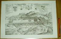Bergen alte Ansicht Merian Druck Stich 1650 (schw) Städteansicht Norwegen