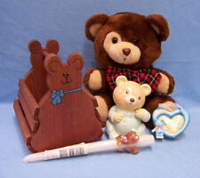 Bear Lot of 5 Bank Plush Bear Candle Heart Bear Photo Frame Wood Basket