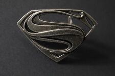 SILVER SUPERMAN BELT BUCKLE VINTAGE TEXTURED METAL MAN OF STEEL DC MOVIE VS