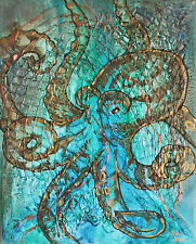 Octopus Tentacles Striped Metallic Copper Textured - 8x10 Archival Print Matte
