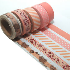 5 Rollen je 10m Washi Masking Tape Basteln Klebeband  Reispapier 0,22 Eur/m 9568