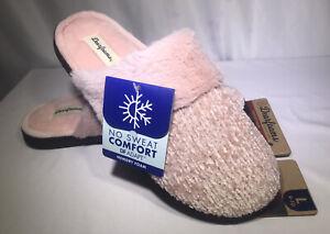 Dearfoams Women's Pink Chenille Clog Size L (9/10)  Slip-On Faux Fur Memory Foam
