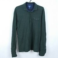 GANT Mens Green Long Sleeve Cotton Collared Polo Shirt SIZE Large, L
