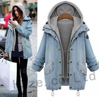 Fashion Women Denim Trench Coat Hooded Outerwear Jean Jacket Parka Slim Outfit