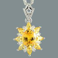Riva Damen Oval Gelb Citrin 18K Weissgold Vergoldet Blume Anhaenger Halskette