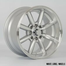 "4 x White Label Vintage Silver 15"" x 8"" 4x100 et0 alloys fit Mazda Mx5 Civic"