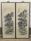 TWO ANTIQUE CHINESE WATERCOLOR LANDSCAPE PAINTING    OLD VINTAGE ASIAN ART CHINA