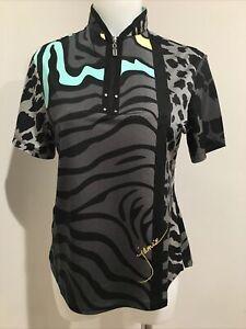 Jamie Sadock 1/4 Zip Shirt Top Black Gray Green Yellow Golf Womens Size S