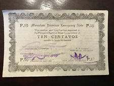 Ten 10 Centavos Mountain Province Emergency Note P.10 Philippines