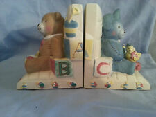 Kidsline Treasures Book Ends Ivory Resin Kids Childrens Nursery Bear Rabbit