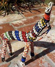 VINTAGE TRADITIONAL COLORFUL BEADED ANIMAL KENYA AFRICA FOLK ART FREE SHIPPING