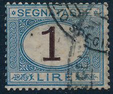 1870 ITALIA REGNO SEGNATASSE LIRE 1 - AZZURRO E BRUNO USATO - RE02-H