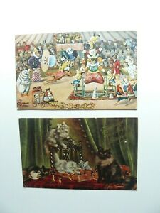 2 x Cat Postcards - The Animal Circus - Chess
