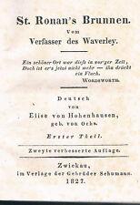 WALTER SCOTT´s Romane: St. Ronan´s Brunnen - 1827 - 4 Teile in 2 Bänden