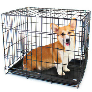 "42"",36"",30"",24"" and 18""  Dual-Door Folding Pet Crate With Removable Liner"