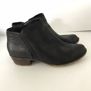 LUCKY BRAND Black Barstyn Leather Booties Ankle Boots Side Zip Womens 8 M