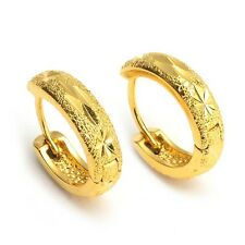 Women's Earrings Charms Hoops 18k Yellow Gold Filled 15mm Fashion Jewelry Gift