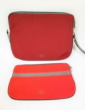 FOSSIL SET OF 2 ABBOTT DOUBLE POUCH COATED RED WINE MULTI CANVAS WRISTLET,BAG