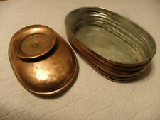 Copper candle holder trinket box, marked