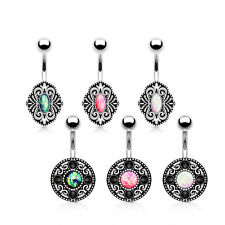 6pc Opal Glitter Vintage Look Steel Belly Button Rings Naval Navel Wholesale Lot
