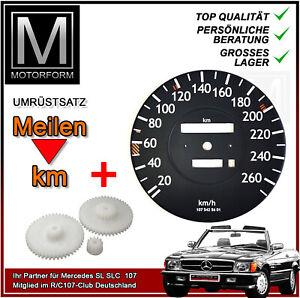 Tacho Umbausatz Mercedes 560SL R107 W107 Tachoscheibe PLUS Zahnradsatz 260km/h