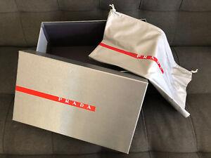 PRADA MILANO Empty Gift Storage Shoe Silver Box With Dust Bag