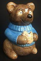 Vintage Metlox Glazed Pottery Ceramic Teddy Bear Blue Sweater Holding Cookie Jar