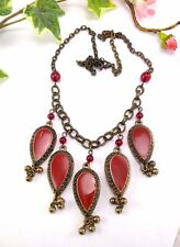Indian Ethnic Middle Eastern Style Red Enamel Drop Statement Necklace