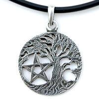 Pentagram Wicca Pagan Celtic Jewelry Pentacle Star Tree of Life Pewter Pendant