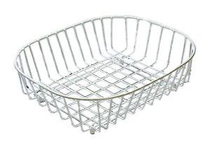 Delfinware Sink Basket Drainer White Wireware Kitchen Dish Drainer Strainer