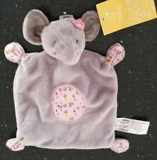 Doudou plat éléphant Gémo gris rose velours tissu Fleursur la tête ovale NEUF