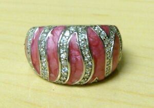 925 Sterling Silver Topaz, Pink Enamel Ring Size 6 Signed 925, Platinum Embraced
