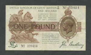 ENGLAND  KGV Bradbury £1 1917-19  T16  About Very Fine  Treasury Banknotes