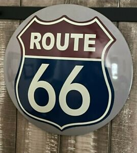 Route 66  ~ Large Round Dome Sign ~ Red White and Blue Highway Shield ~ Mancave
