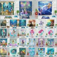 Underwater Mermaid 100% Polyester Fabric Shower Curtain Set Bathroom w/12 Hooks