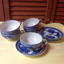 ANTIQUE BLUE & WHITE  5 TEACUPS 4 SAUCERS CHINESE MARK TRANSLUCENT PORCELAIN