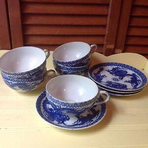 ANTIQUE BLUE & WHITE DRAGONS 5 TEACUPS 4 SAUCERS FLOW BLU CHINESE BONE PORCELAIN