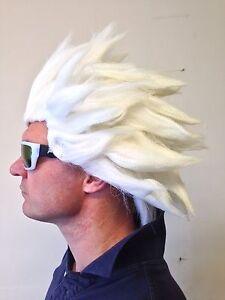White Spiked Spikey Anime Wig Street Fighter Japanese Manga Hair Fancy Dress