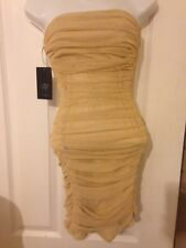 a9872f5671 Womens Gold Metallic ZARA Ruched Dress EUR S