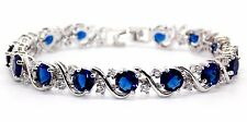 Silver Blue Sapphire And White Topaz 16ct Bracelet (925)