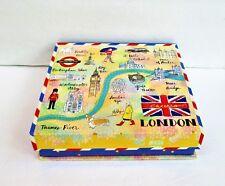 "Molly & Rex London Decorative Keepsake Magnetic Flap Closure Box 8.1/4 x 8.1/4"""